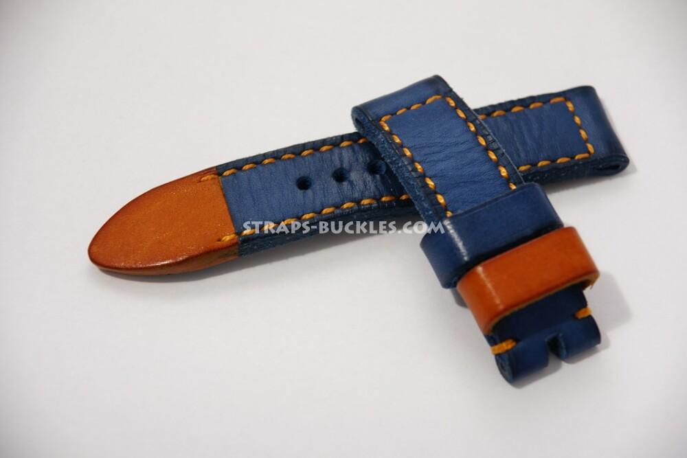 Часовой ремешок из кожи теленка, синий цвет