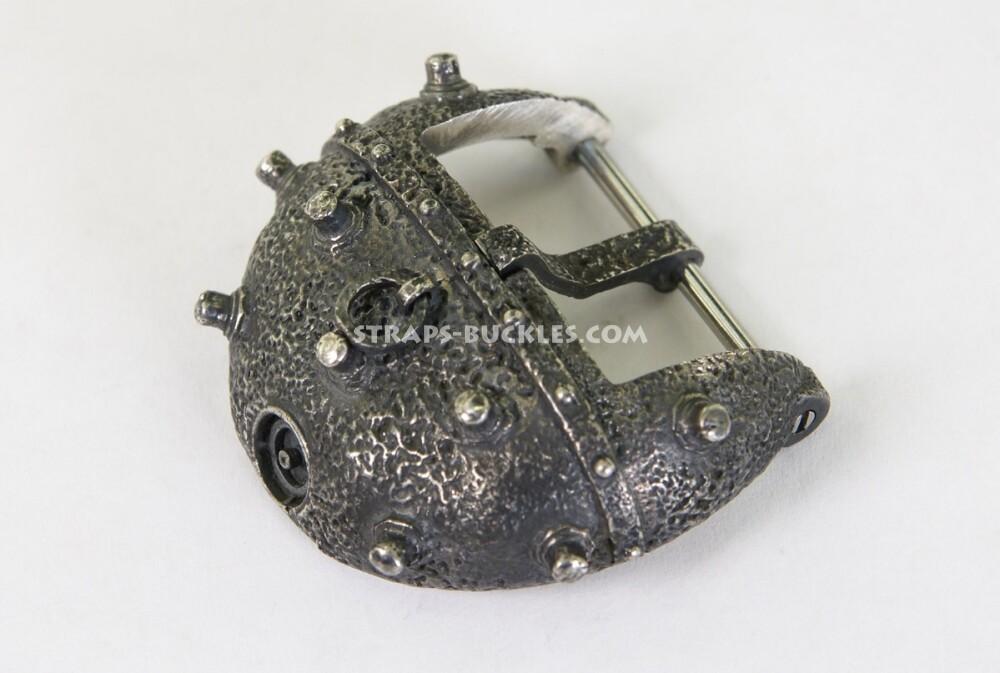 Часовая пряжка из серебра в виде старинной морской мины, marine mine silver 24 мм