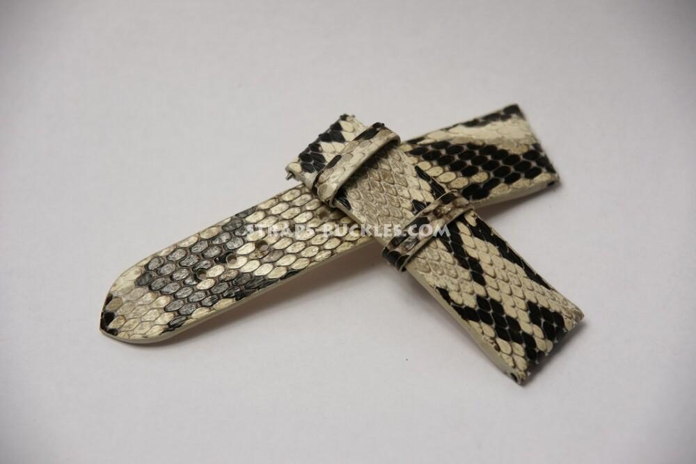 Черно-белый часовой ремешок из кожи змеи