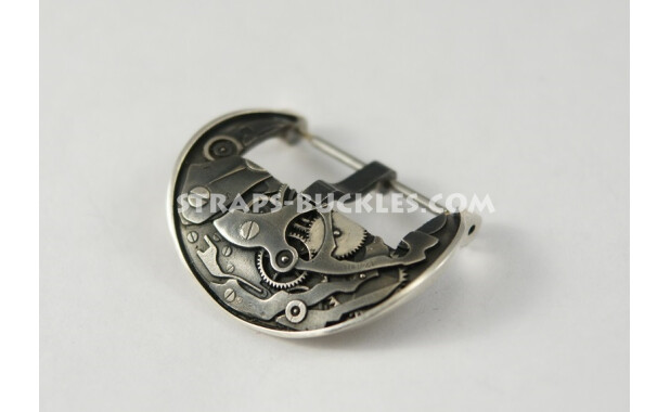 Пряжка из серебра в виде механизма часов. Mechanism silver 24 mm
