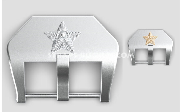 """Sterling silver buckle """"Star"""" 20, 22, 24 mm"""