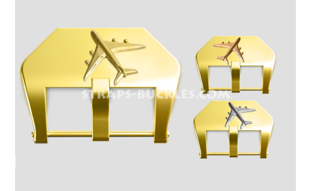"Brass buckle ""Airplane"" 22, 24 mm"