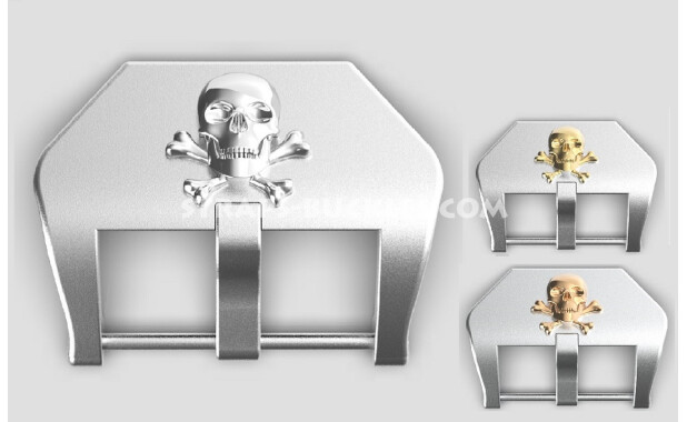 """Sterling silver buckle """"Skull and bones"""" 20, 22, 24 mm"""
