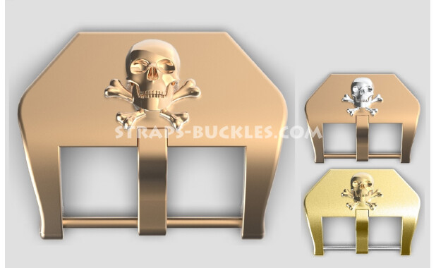"""Bronze / brass buckle """"Skull and bones"""" 20, 22, 24 mm"""