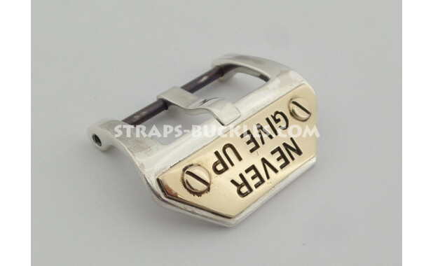 Sterling silver buckle NEVER GIVE UP 20,22,24 мм